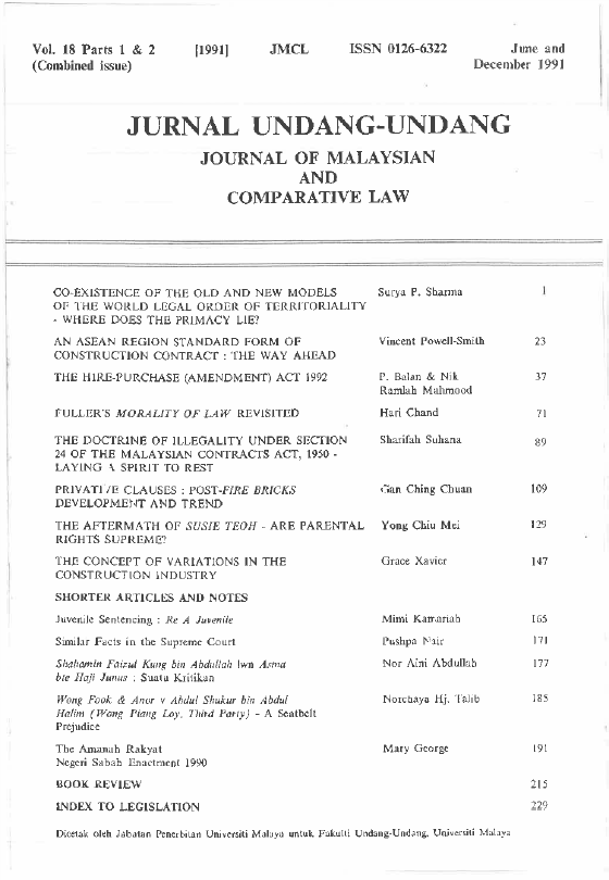 The Doctrine Of Illegality Under Section 24 Of The Malaysian Contracts Act 1950 Journal Of Malaysian And Comparative Law