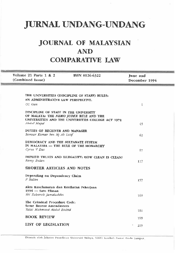 The Criminal Procedure Code | Journal of Malaysian and