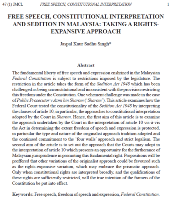 Free Speech, Constitutional Interpretation and Sedition in Malaysia: Taking a Rights-Expansive Approach