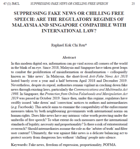 Suppressing Fake News or Chilling Free Speech: Are the Regulatory Regimes of Malaysia and Singapore Compatible With International Law?