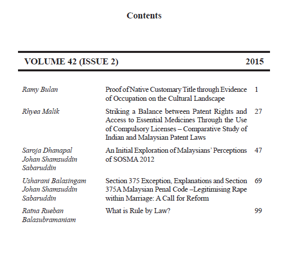 (2015) 42 (2) JMCL table of contents
