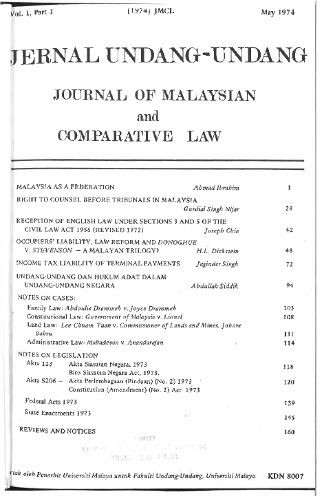 Journal of Malaysian and Comparative Law Vol 1 Part 1 1974