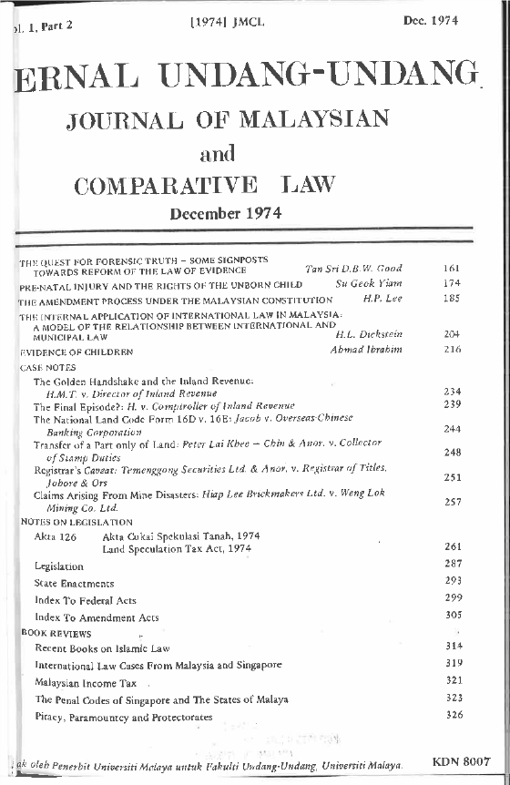 Journal of Malaysian and Comparative Law Vol 1 Part 2 1974