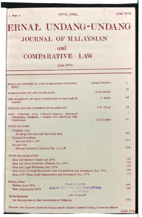 Journal of Malaysian and Comparative Law Vol 3 Part 1 1976