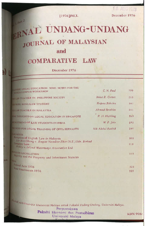 Journal of Malaysian and Comparative Law Vol 3 Part 2 1976