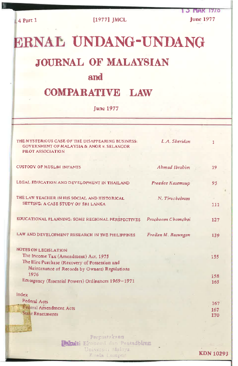 Journal of Malaysian and Comparative Law Vol 4 Part 1 1977