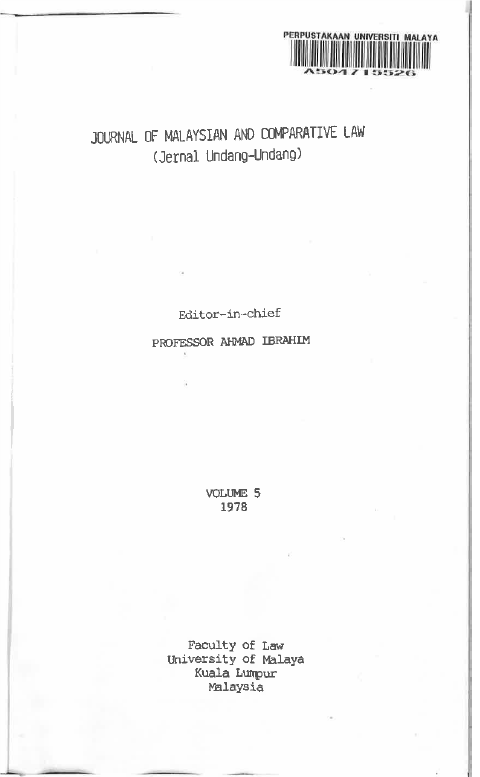 Journal of Malaysian and Comparative Law Volume 5 1978