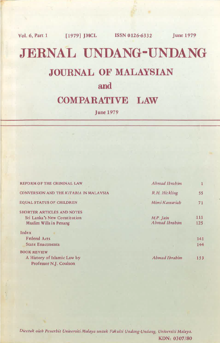 Journal of Malaysian and Comparative Law Vol 6 Part 1 1979