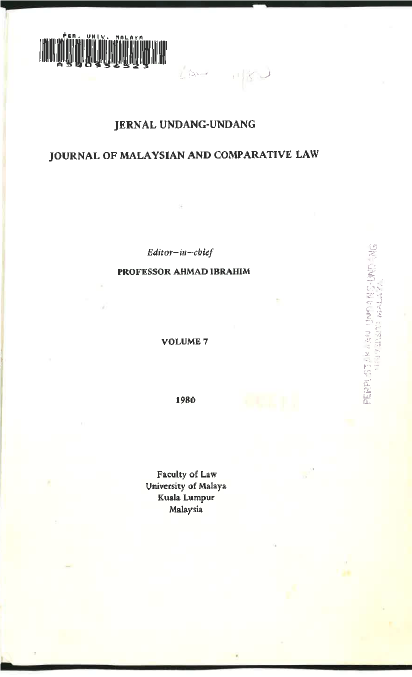 Journal of Malaysian and Comparative Law Vol 7 Part 1