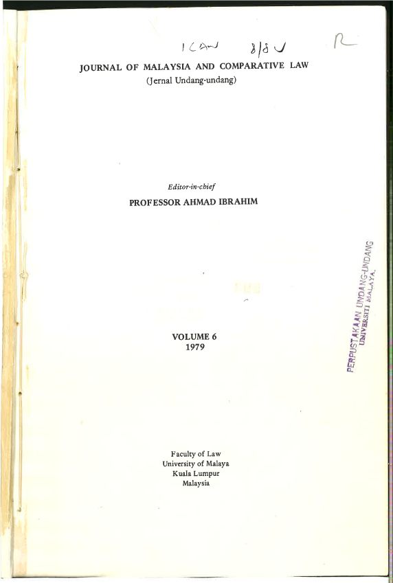 Journal of Malaysian and Comparative Law Vol 6 Part 2 1979
