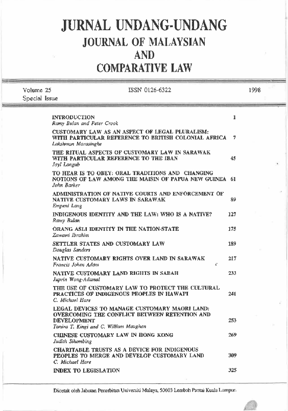 View Vol. 25 (1998): Journal of Malaysian and Comparative Law