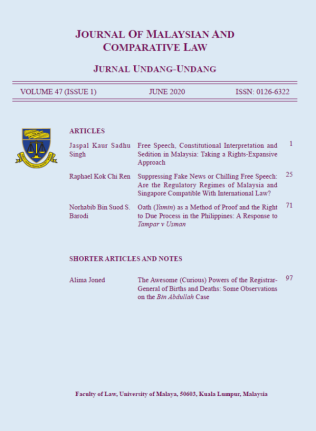 View Vol. 47 No. 1. Jun (2020): Journal of Malaysian and Comparative Law