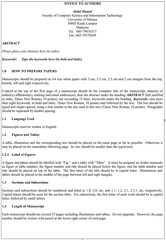 Article Template Malaysian Journal Of Computer Science